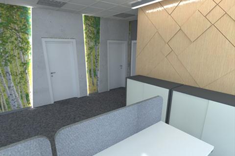 Projekt wnętrza. . Hol wejściowy i biura Orzeł Biały