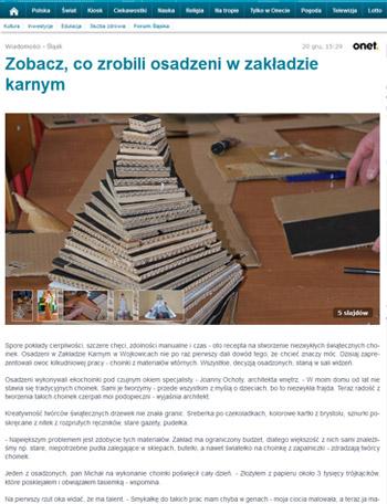 """Projekt wnętrza. . Artykuł na portalu Onet.pl """"Eko choinka"""" 20.12.2013"""