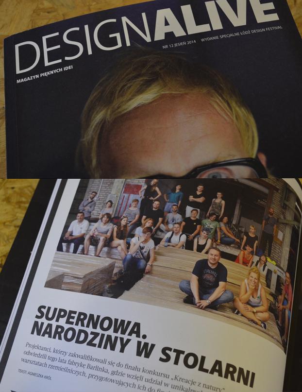 """Projekt wnętrza. . Supernowa. Narodziny w stolarni """"DESIGNALIVE"""" 12/2014"""